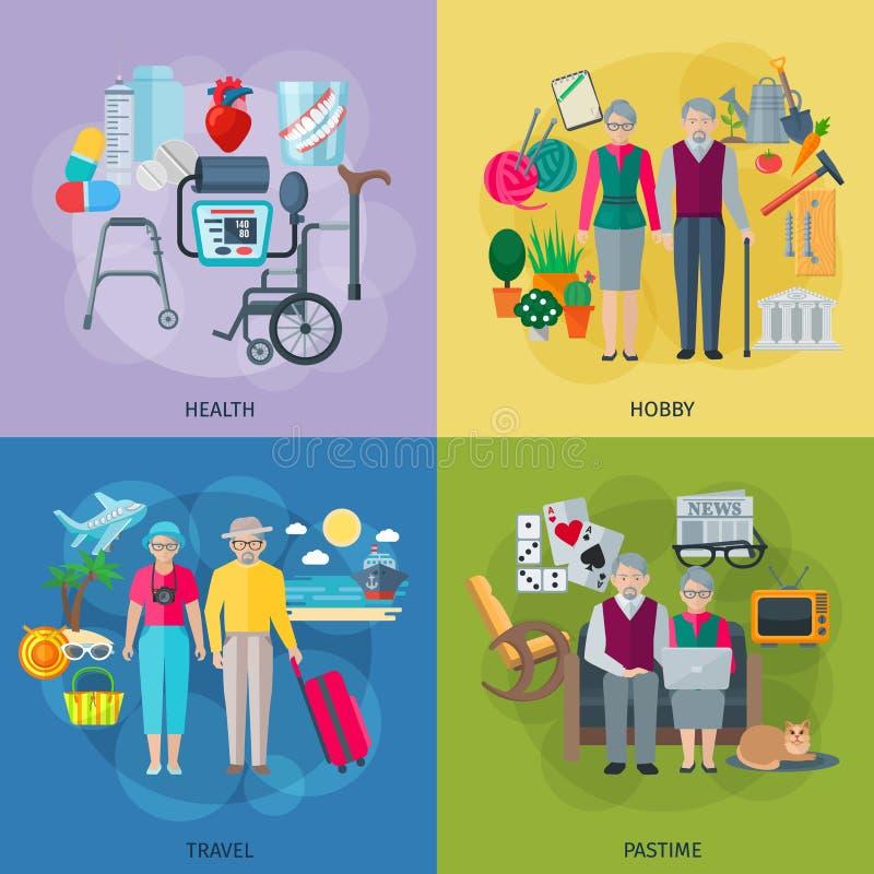 Ícones do conceito da vida dos pensionista ajustados ilustração royalty free