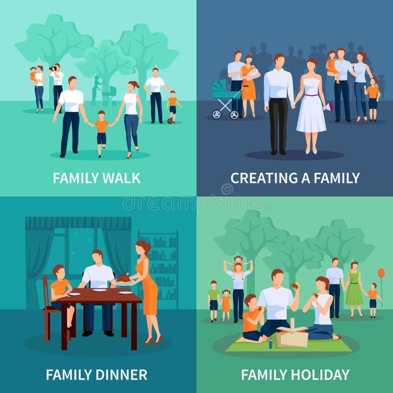 Ícones do conceito de família ajustados ilustração do vetor