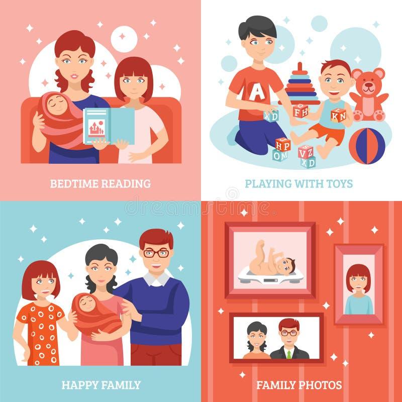 Ícones do conceito de família ajustados ilustração royalty free