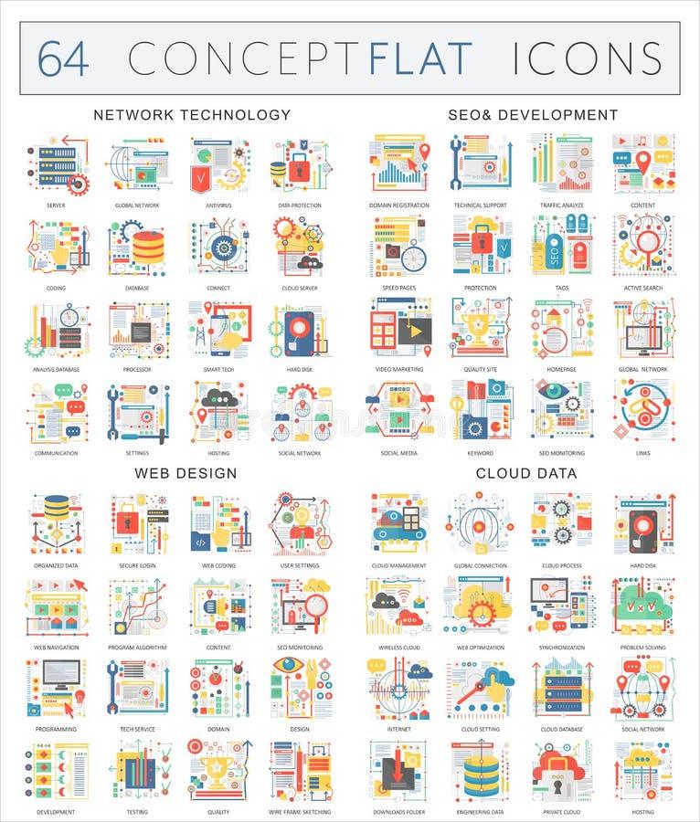 Ícones do conceito de Infographics da tecnologia de rede, desenvolvimento do seo, design web, dados da nuvem Vetor superior da qu ilustração do vetor