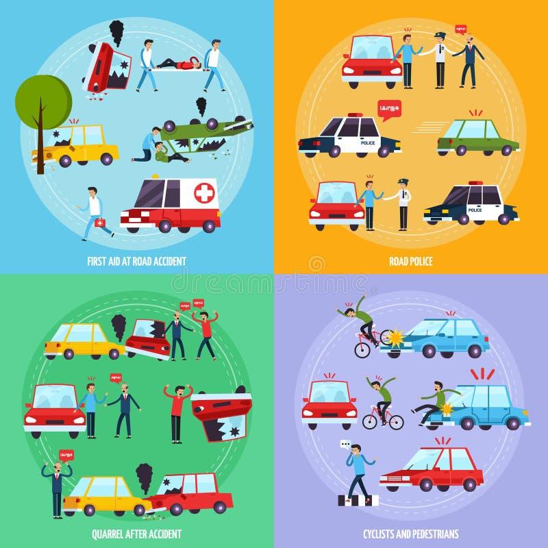 Ícones do conceito do acidente de viação ajustados ilustração royalty free