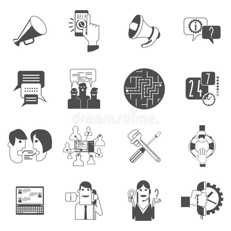 Ícones do conceito dos fóruns do Internet ajustados pretos ilustração royalty free