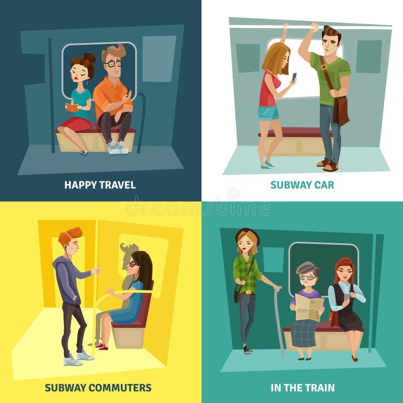 Ícones do conceito dos povos do metro ajustados ilustração do vetor