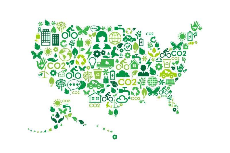 Ícones do conceito do verde da proteção ambiental do mapa dos EUA ilustração do vetor