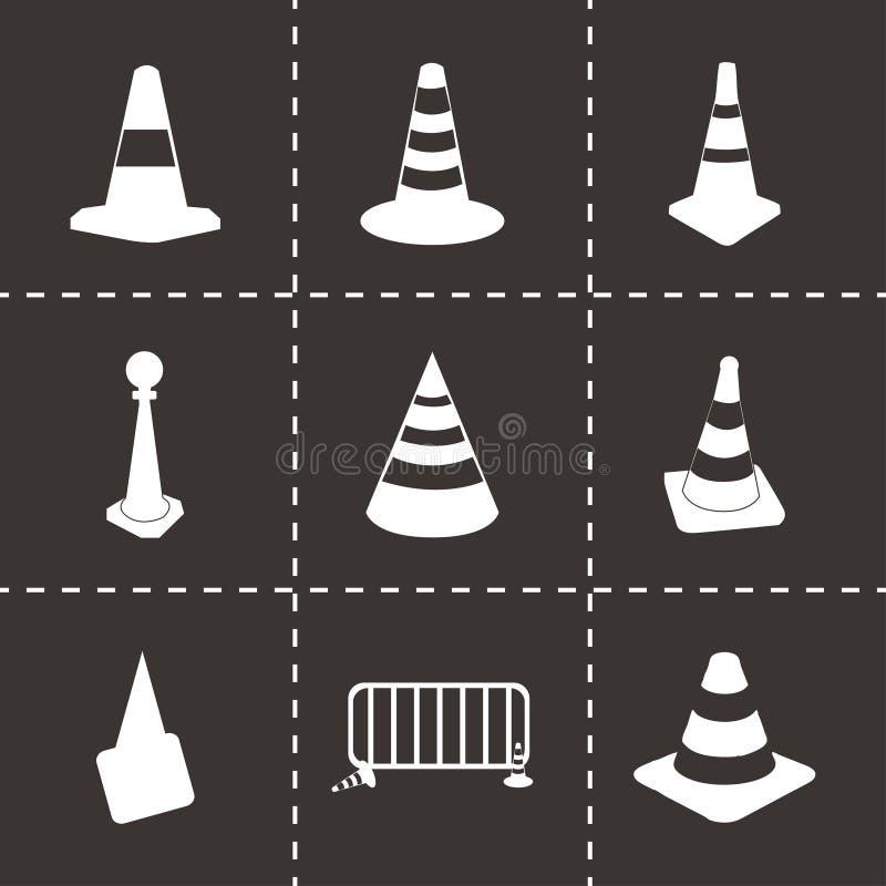 Ícones do cone do tráfego do vetor ajustados ilustração stock