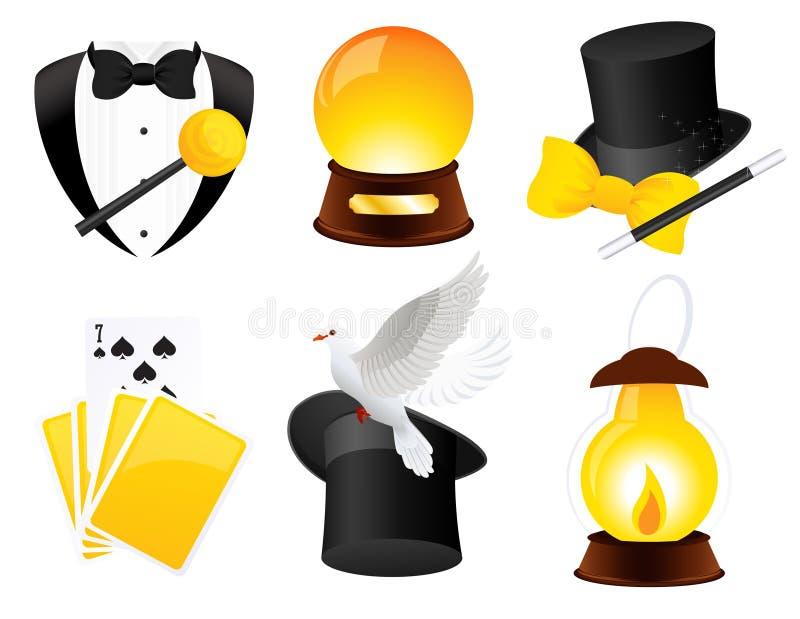 Ícones do Conjurer ilustração stock
