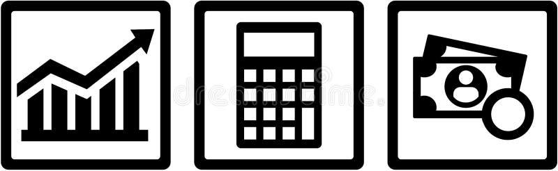 Ícones do conselheiro de imposto - carta, calculadora, dinheiro ilustração royalty free