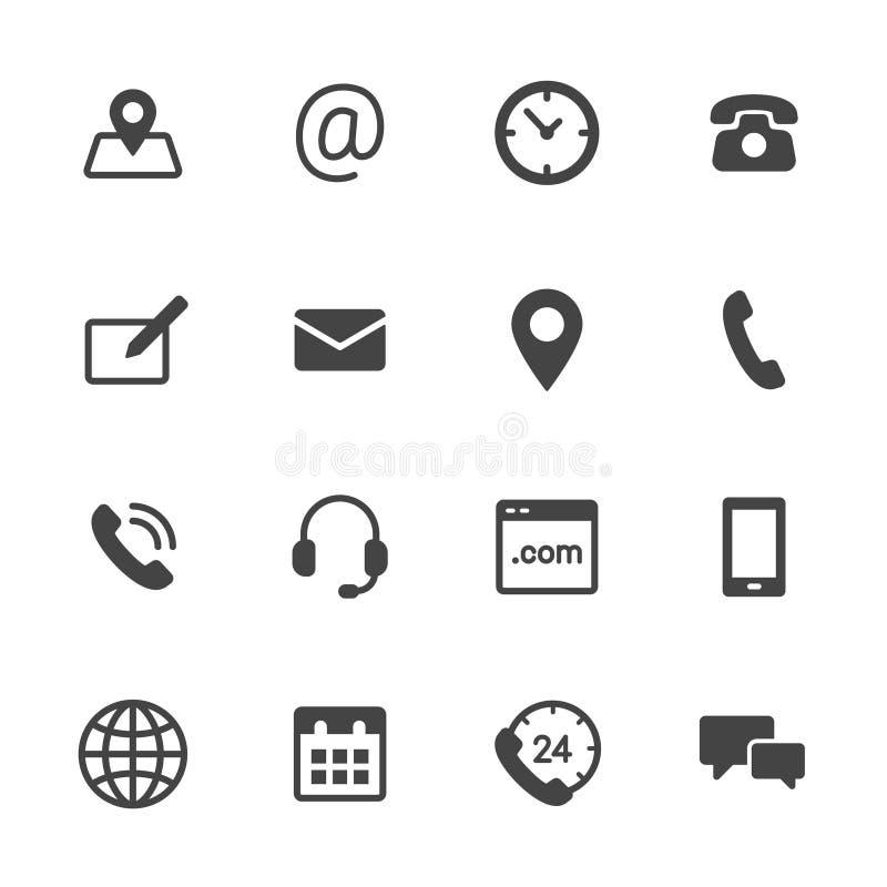 Ícones do contato ilustração stock