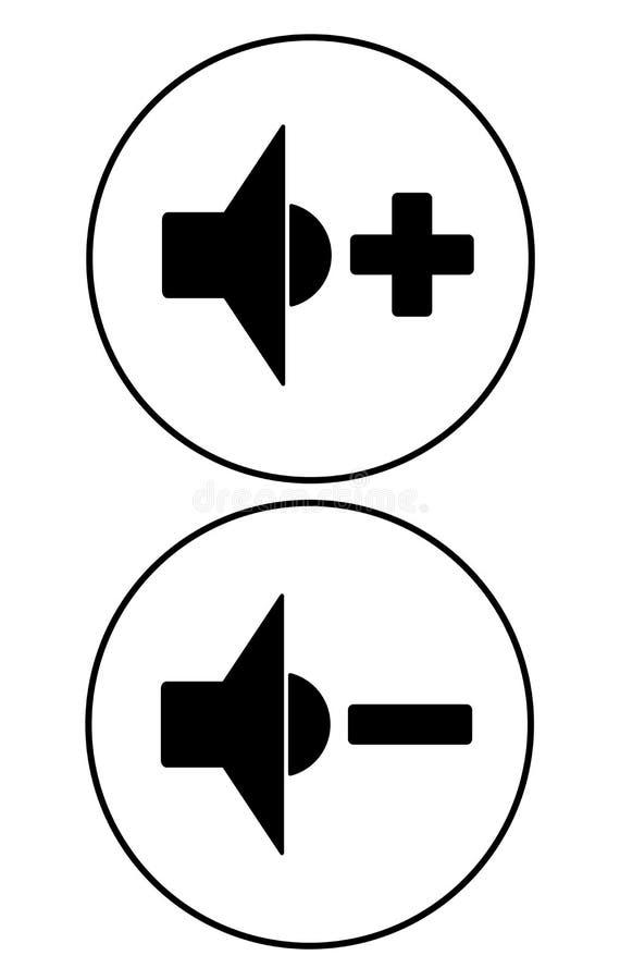 Ícones do controle do jogador Sinais mais altos e mais quietos sadios ilustração stock