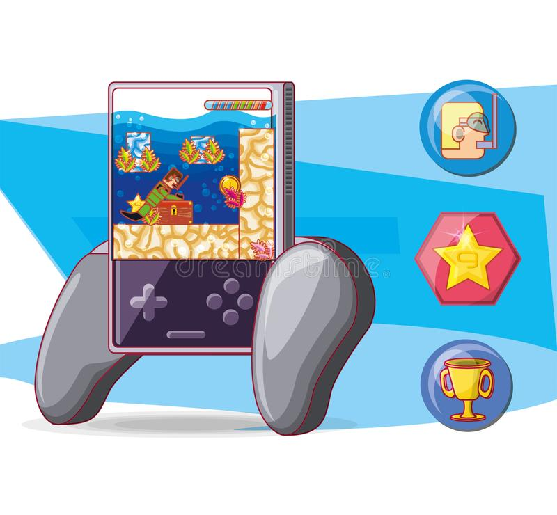 Ícones do controle do jogo de vídeo ilustração do vetor