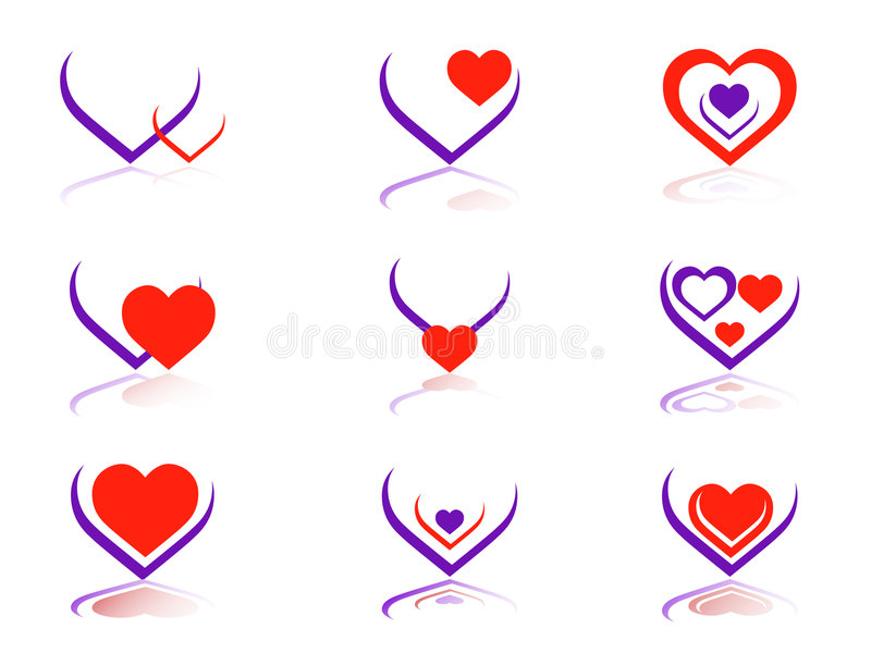 Ícones do coração imagem de stock royalty free