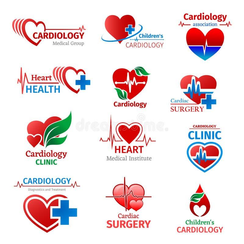 Ícones do coração do vetor da clínica da medicina da cardiologia ilustração do vetor