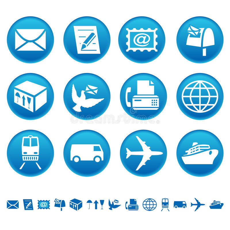Ícones do correio & do transporte ilustração royalty free
