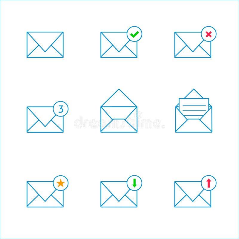 Ícones do correio do esboço ilustração royalty free