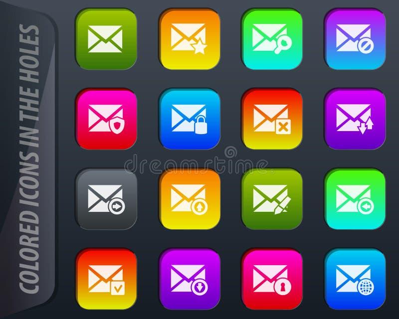 Ícones do correio e do envelope ajustados ilustração stock