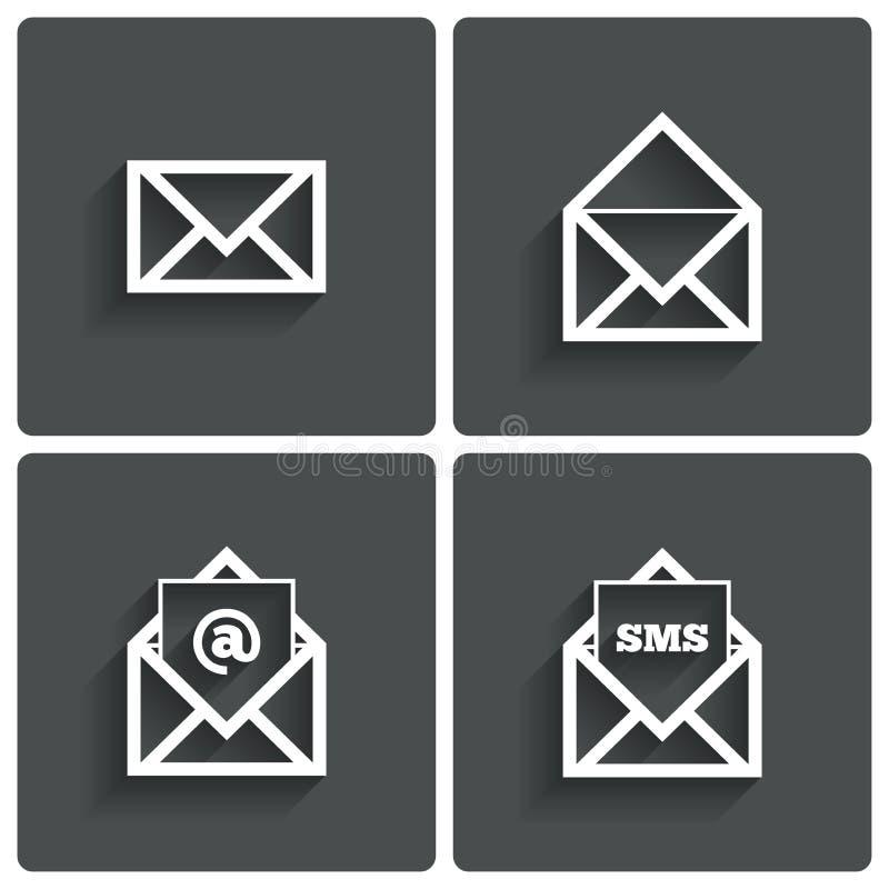 Ícones do correio. Símbolo dos sms do correio. No sinal. Letra. ilustração stock