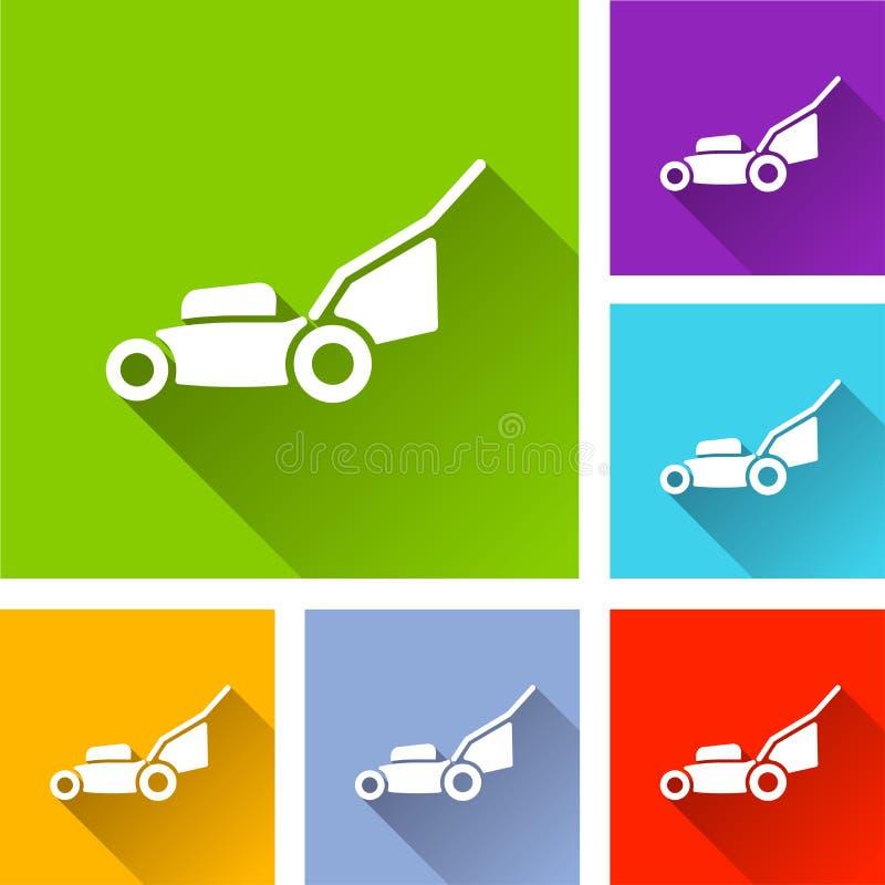 Ícones do cortador de grama com sombra ilustração do vetor
