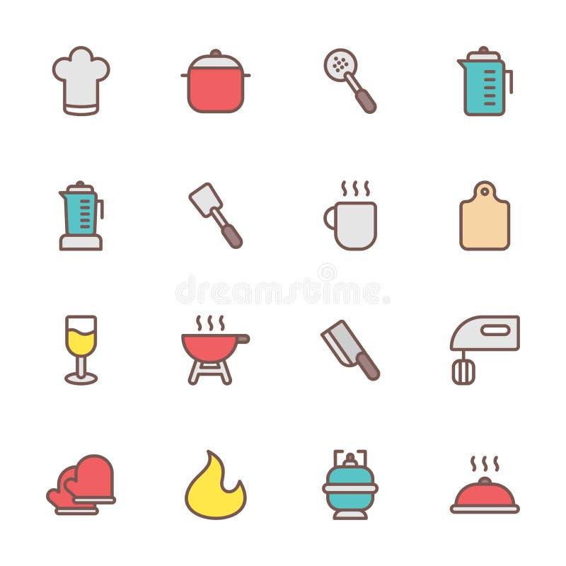 Ícones do cozimento e da cozinha ilustração do vetor