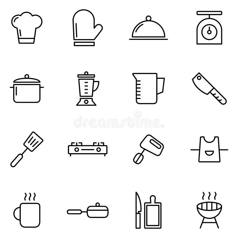 Ícones do cozimento e da cozinha ilustração royalty free