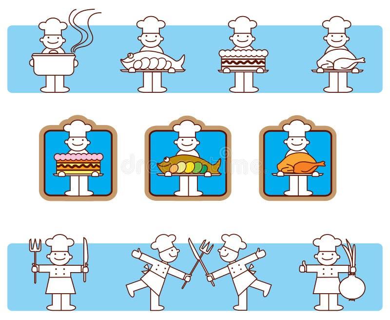 Ícones do cozinheiro ilustração stock