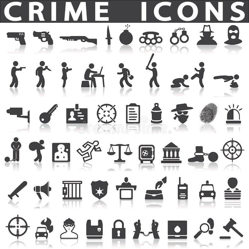 Ícones do crime ilustração royalty free