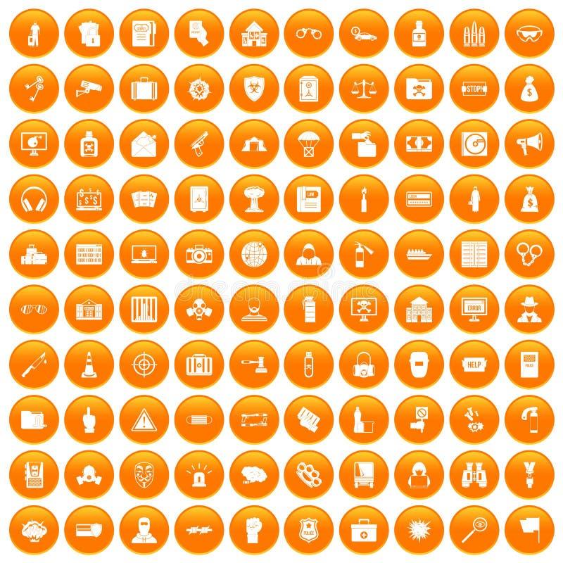 100 ícones do crime ajustados alaranjados ilustração royalty free