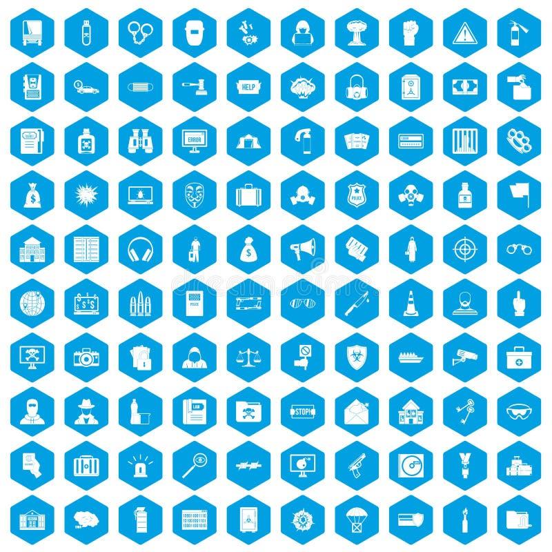 100 ícones do crime ajustados azuis ilustração do vetor