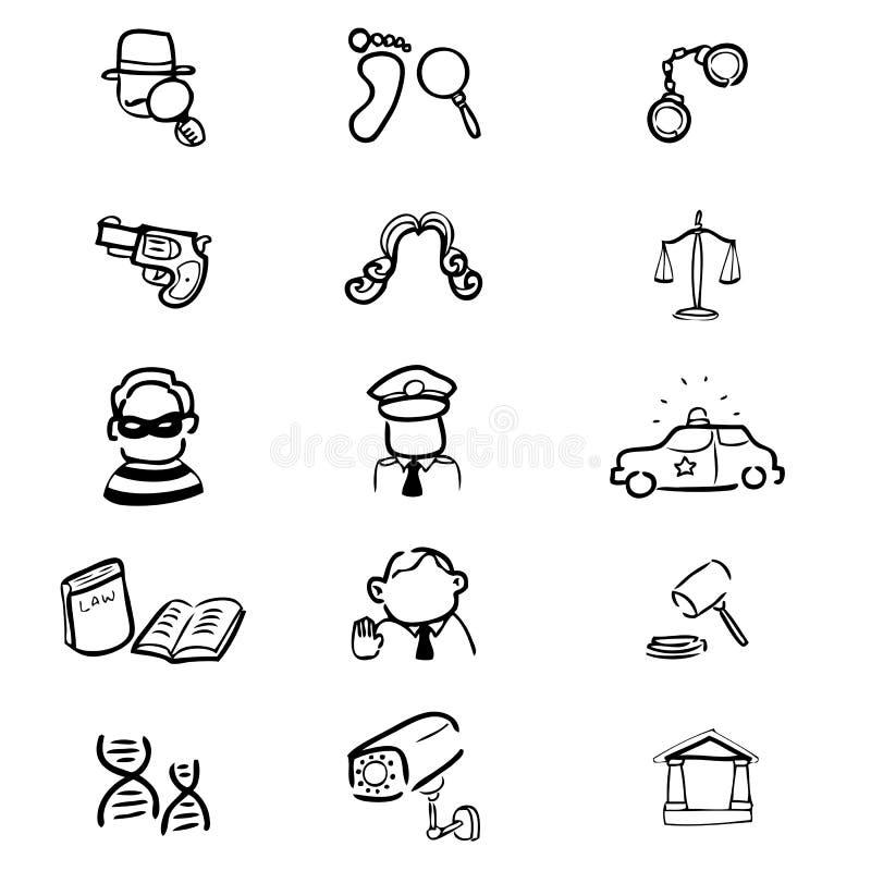 Ícones do crime e da corte ajustados ilustração do vetor