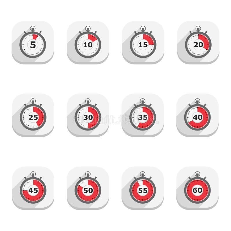 Ícones do cronômetro ilustração do vetor