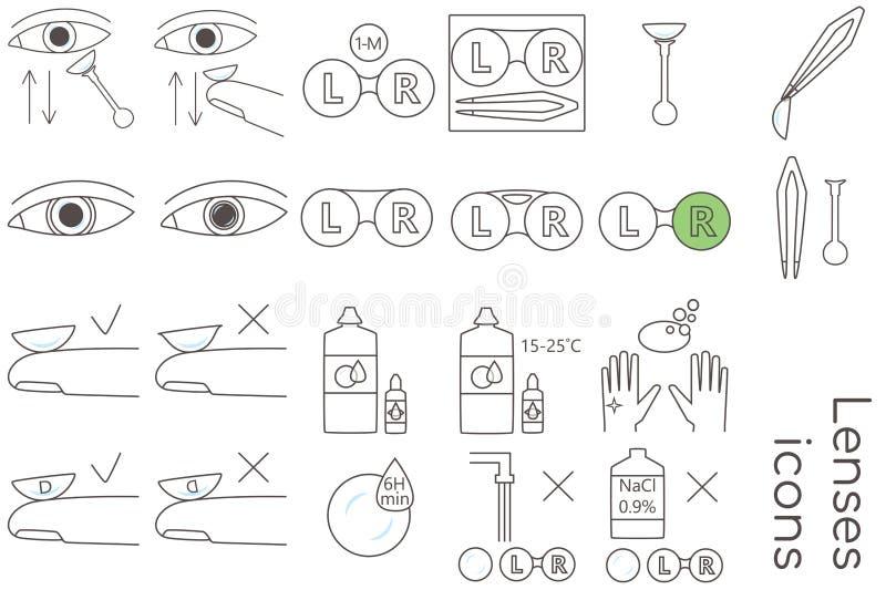 Ícones do cuidado das lentes ilustração royalty free