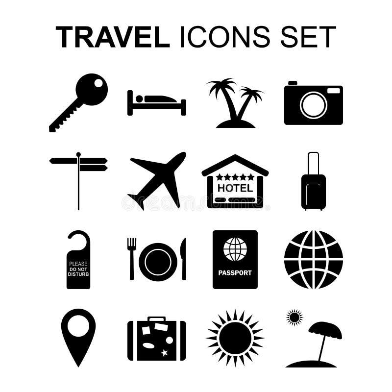 Ícones do curso ajustados e símbolos do turismo Ilustração do vetor ilustração stock