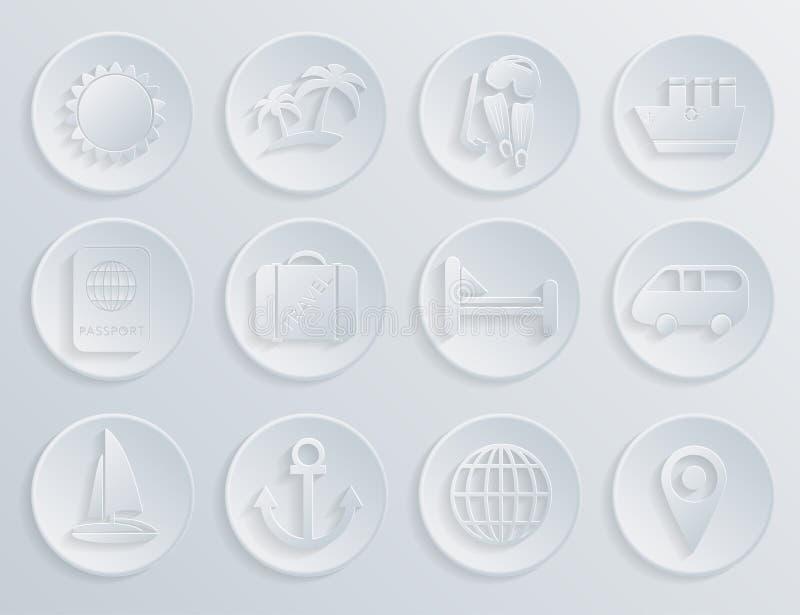 Ícones do curso ajustados no fundo branco ilustração do vetor