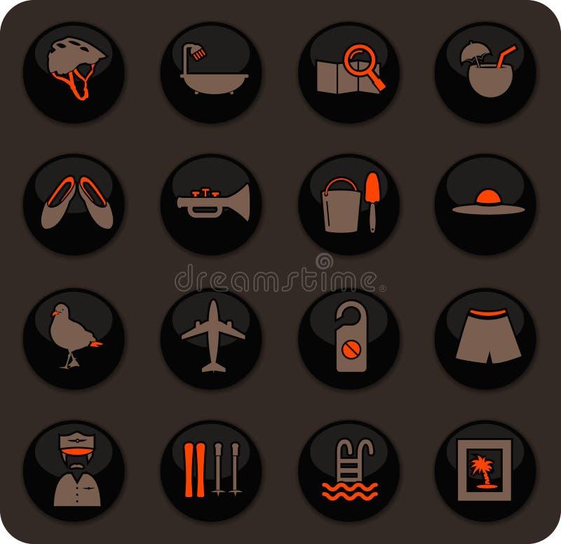 Ícones do curso ajustados ilustração royalty free