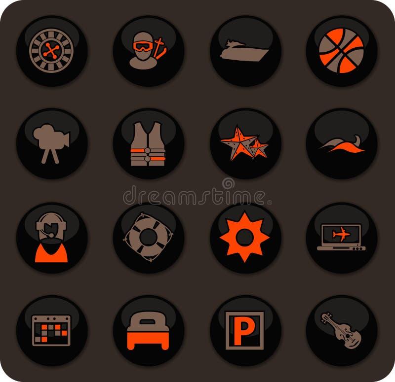 Ícones do curso ajustados ilustração stock