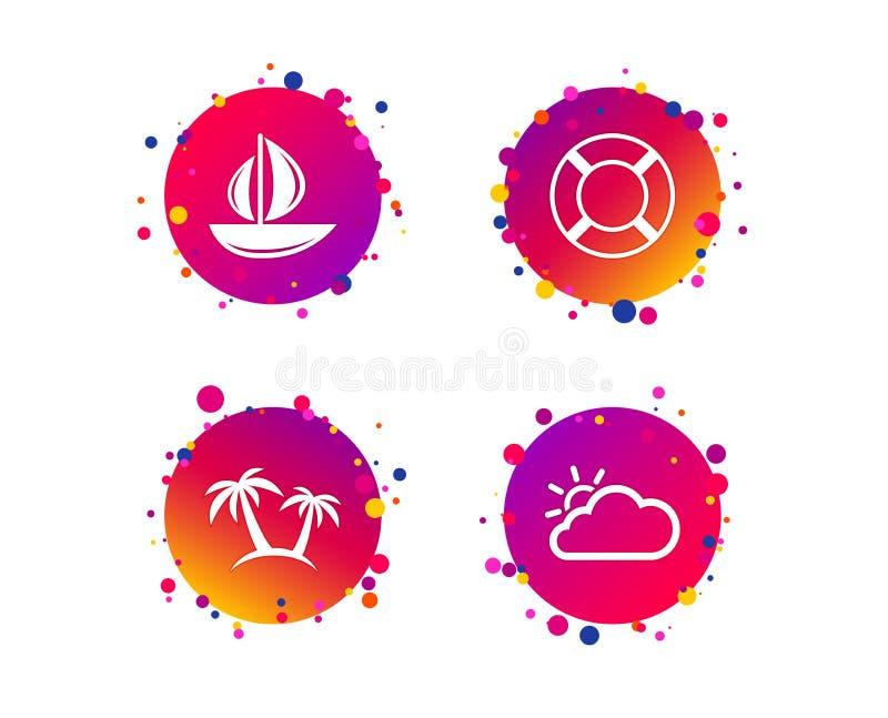 Ícones do curso Barco de vela com sinais do boia salva-vidas Vetor ilustração do vetor