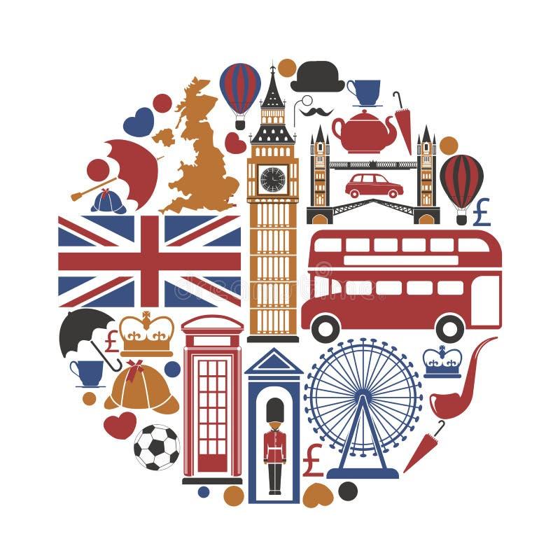 Ícones do curso BRITÂNICO de Inglaterra e cartaz sightseeing dos marcos do vetor ilustração royalty free