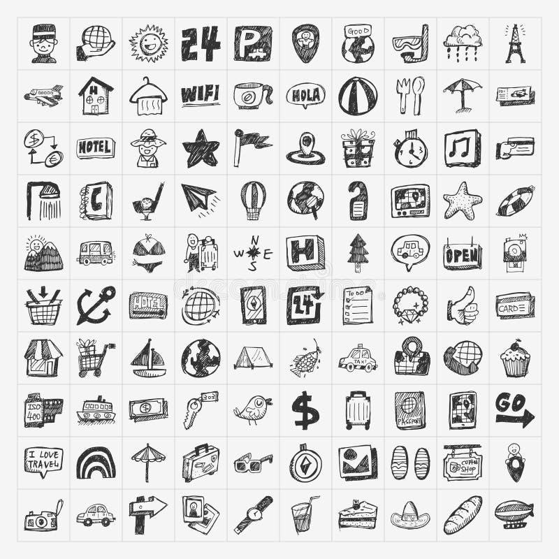 Ícones do curso da garatuja ajustados ilustração stock