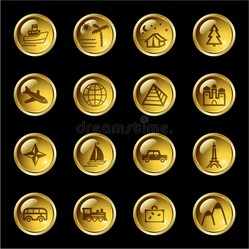 Ícones do curso da gota do ouro