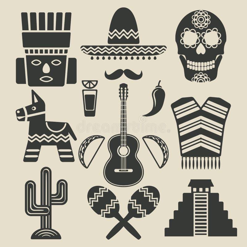 Ícones do curso de México ajustados ilustração do vetor