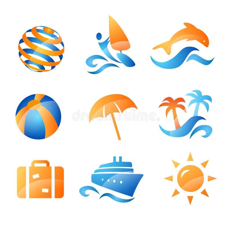 Ícones do curso do mar e do verão ilustração do vetor