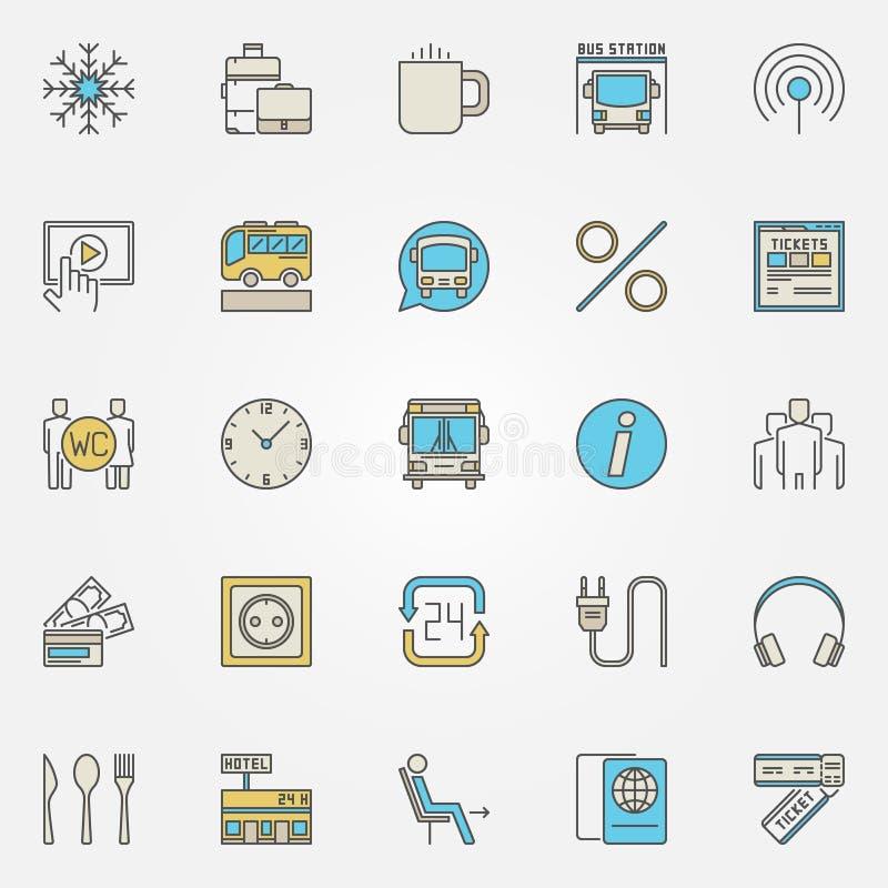 Ícones do curso do ônibus e do treinador ilustração stock