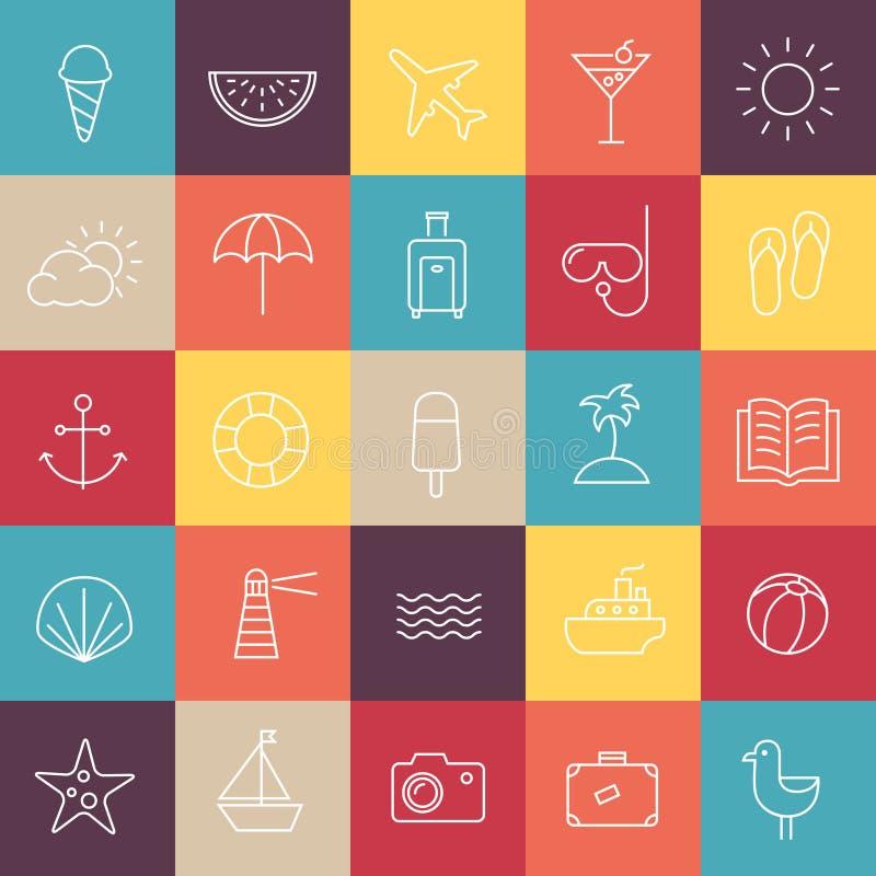 Ícones do curso do verão ilustração stock