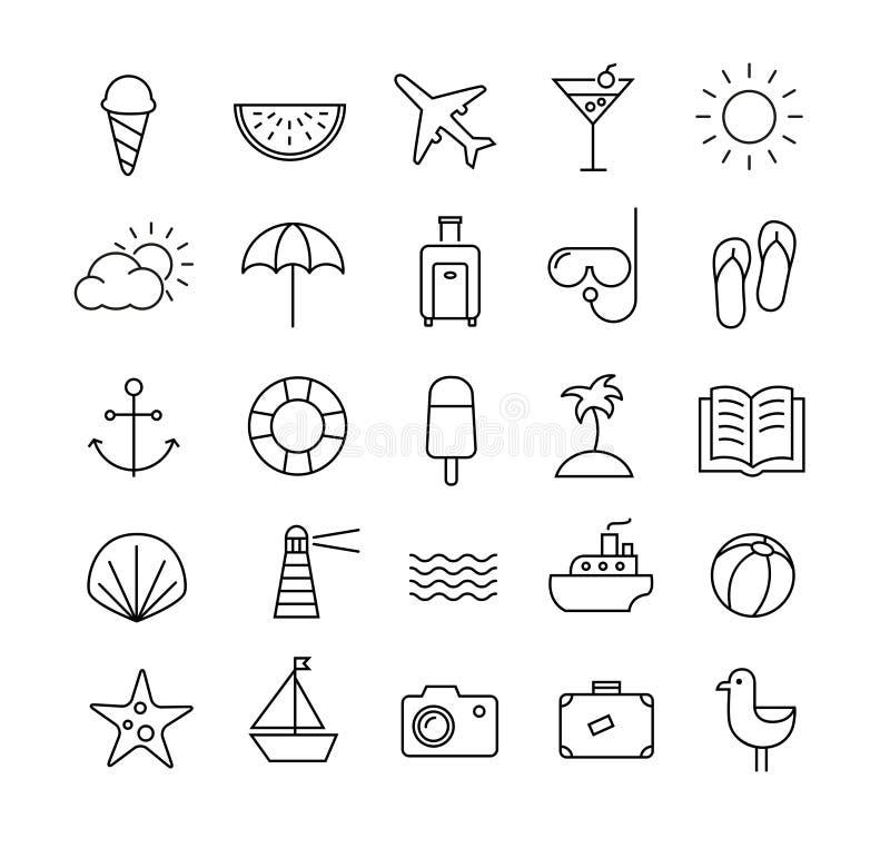 Ícones do curso do verão em linhas finas ilustração royalty free