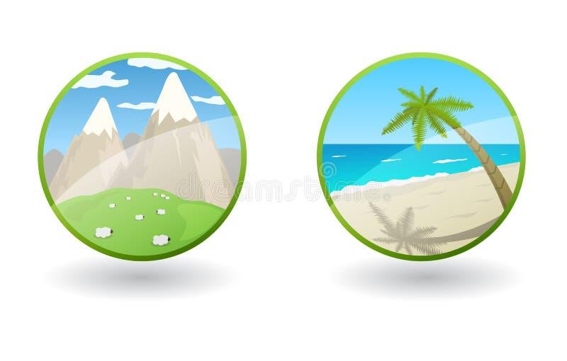 Ícones do curso do vetor com mar e montanhas ilustração royalty free