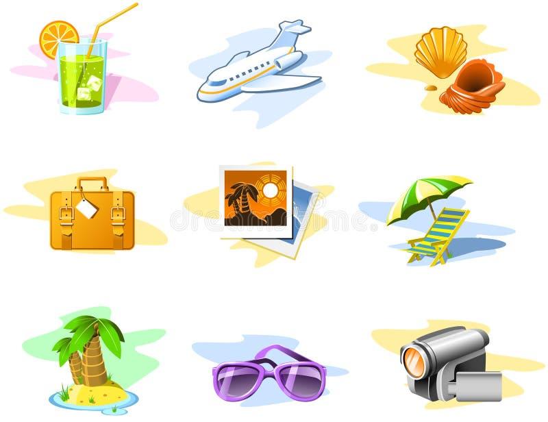 Ícones do curso e das férias ilustração stock
