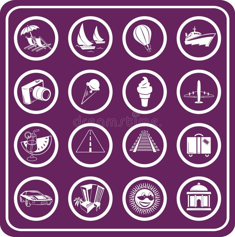 Ícones do curso e do turismo ilustração do vetor