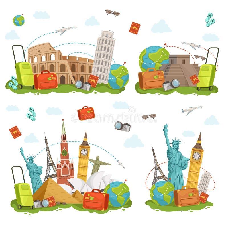 Ícones do curso e marcos diferentes Isolado famoso dos lugares do mundo no branco Ilustrações do vetor ajustadas ilustração royalty free