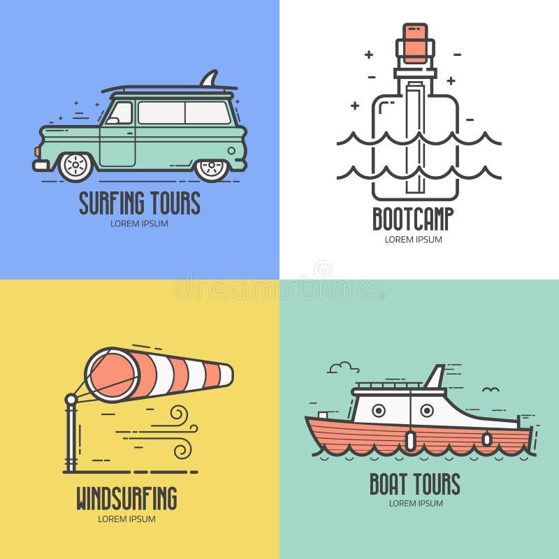 Ícones do curso do recurso do mar do verão ilustração royalty free