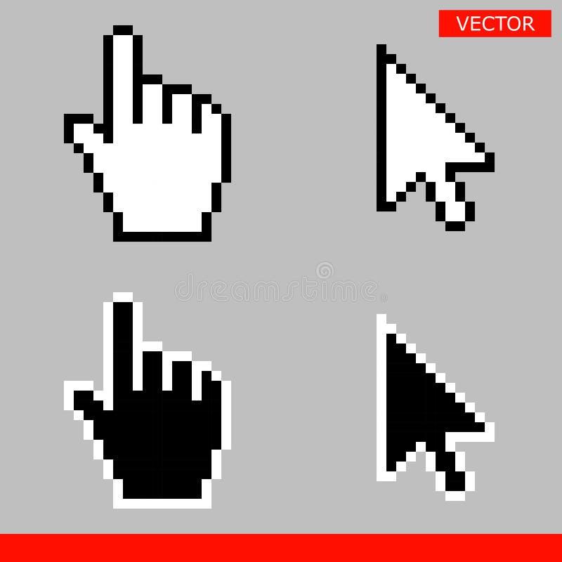 Ícones do cursor da seta e do cursor da mão ilustração do vetor
