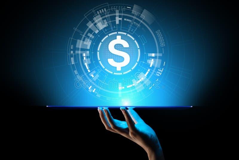 Ícones do dólar na tela virtual Estrangeiros das moedas que trocam e conceito do mercado financeiro Operação bancária e crescimen ilustração stock
